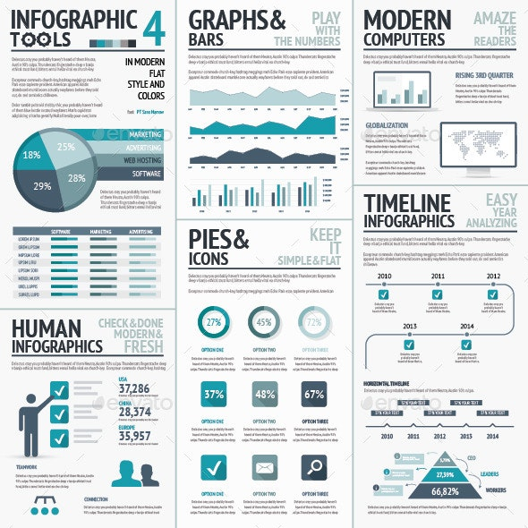 Blue Infographics Vector Elements for Business - Infographics