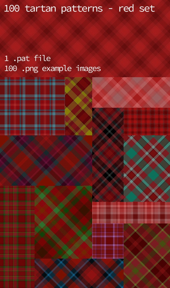 Tartan Pattern Collection - Red set - Textures / Fills / Patterns Photoshop
