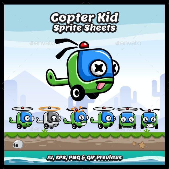 Copter Kid Game Character Sprite Sheets