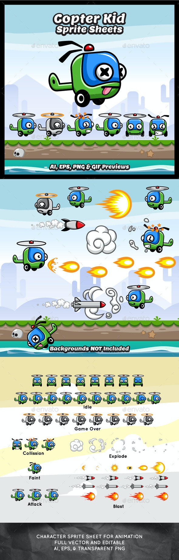 Copter Kid Game Character Sprite Sheets - Sprites Game Assets