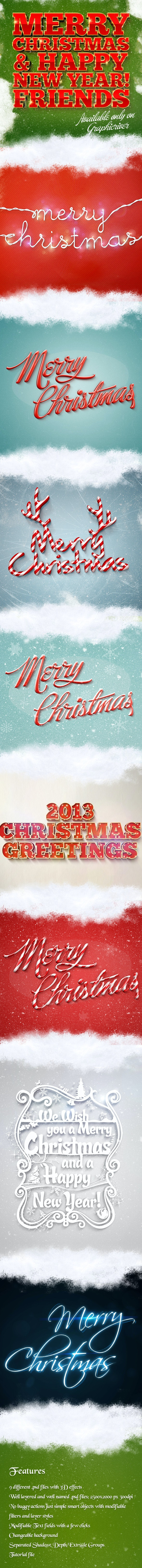 Holiday Christmas 3D Text Effects Pack for Photoshop - Photoshop Add-ons