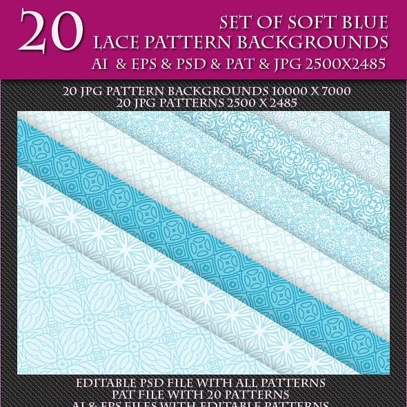 Set of Soft Blue Lace Pattern Backgrounds