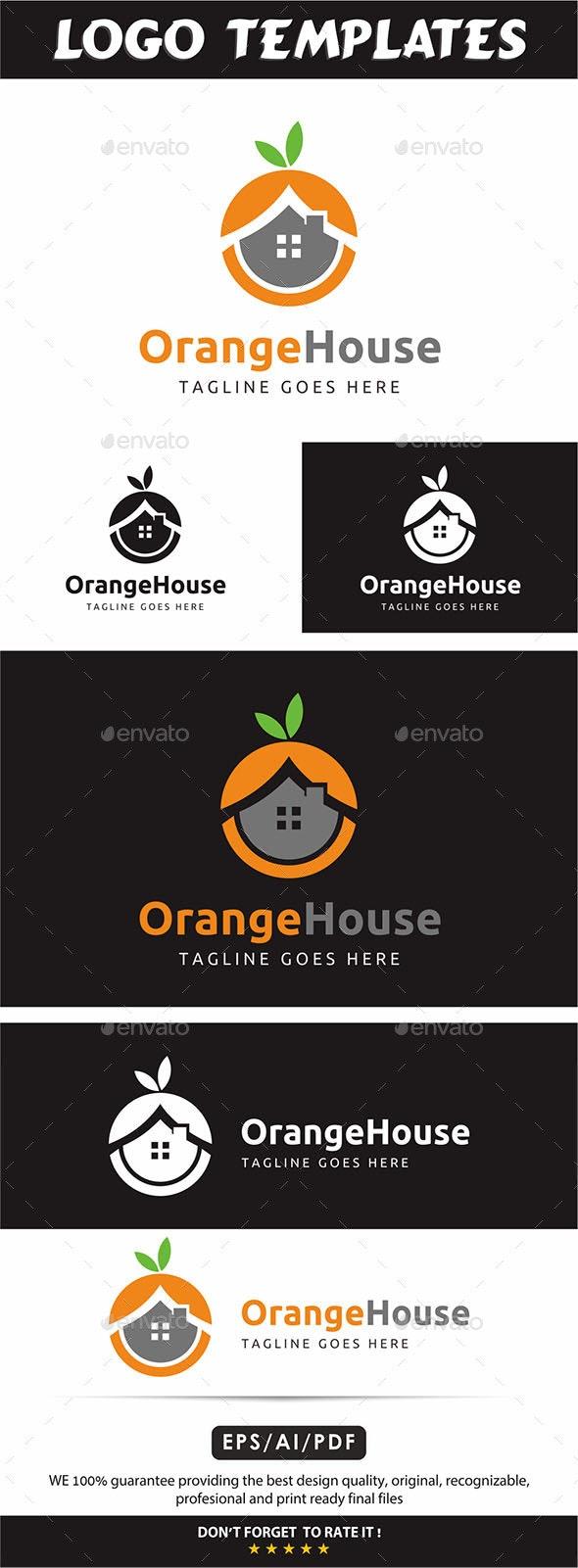 Orange House Logo - Vector Abstract