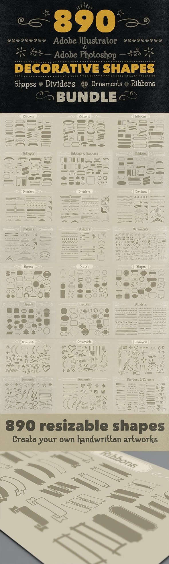 890 Handwritten Shapes - Bundle - Symbols Shapes