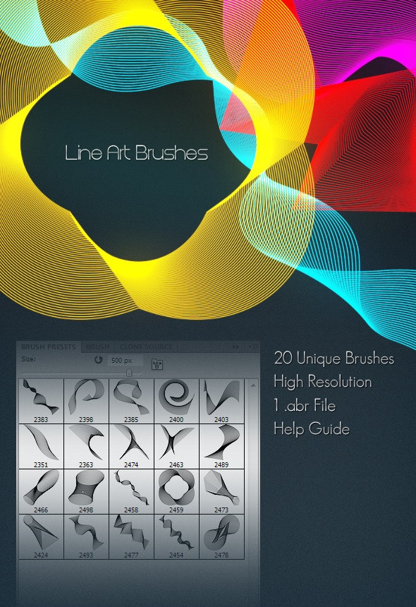 Line Art Brushes - Abstract Brushes