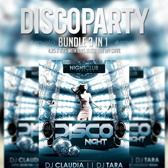 Disco Party Flyer Template - Bundle 3 In 1