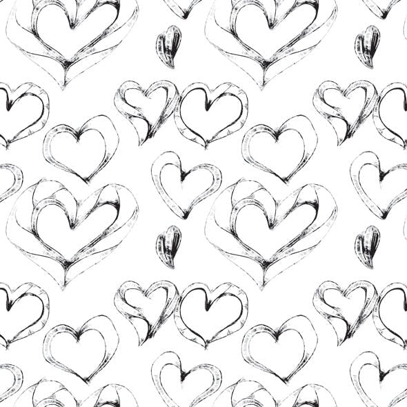 Hand Drawn Sketchy Heart Seamless Pattern
