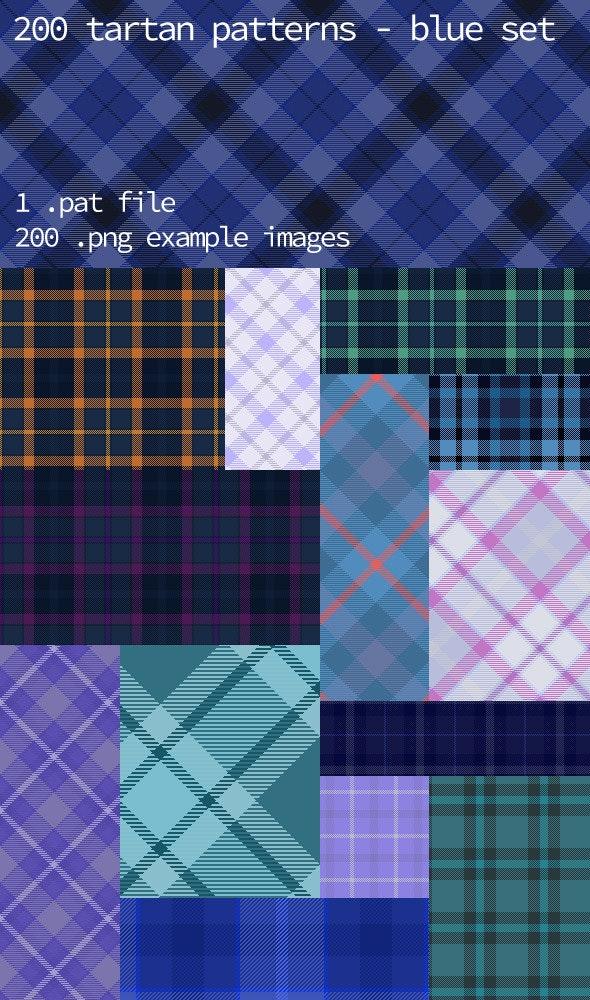 Tartan Pattern Collection - Blue set - Textures / Fills / Patterns Photoshop