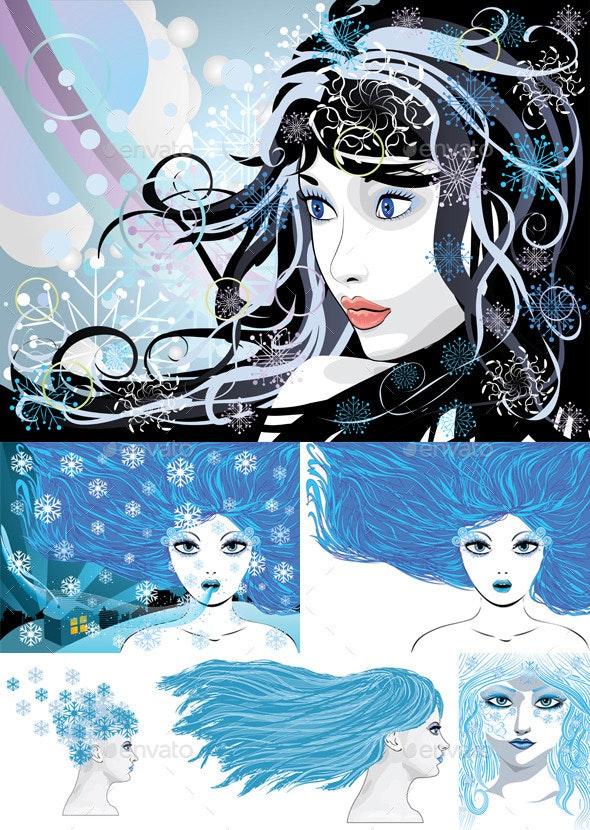 Abstract Winter Girl - Characters Vectors