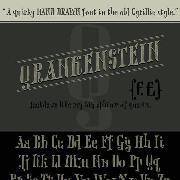 Qrankenstein. Hand Drawn Cyrillic Serif Font