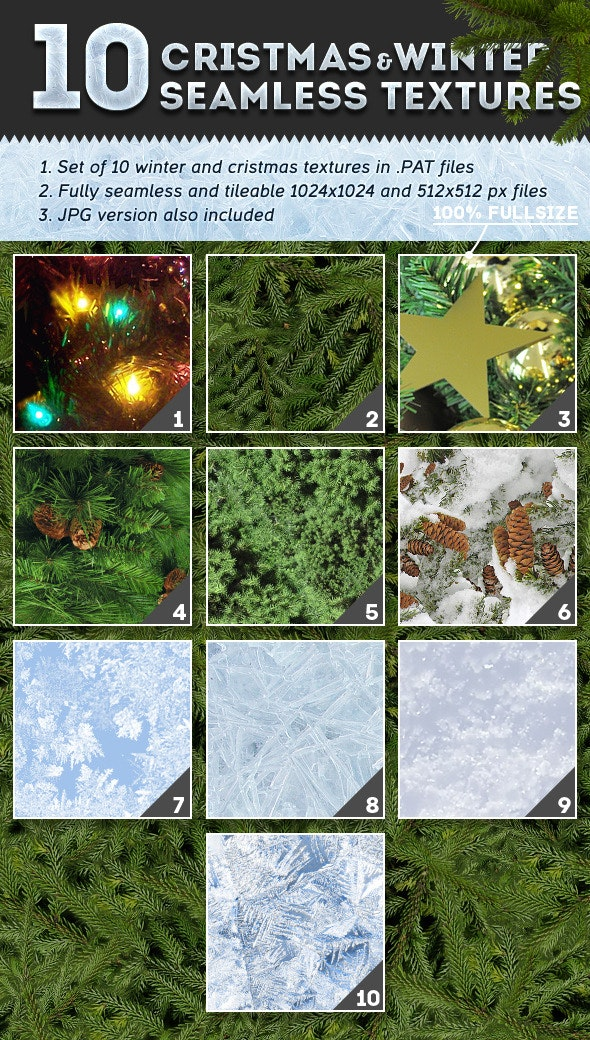 10 Christmas and Winter Textures - Nature Textures / Fills / Patterns