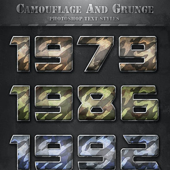 Camouflage and Grunge Text Styles