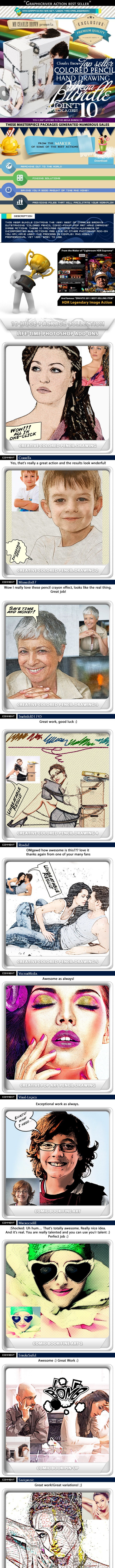 All Charles Brown's Colored Pencil Drawing Bundle - Photo Effects Actions