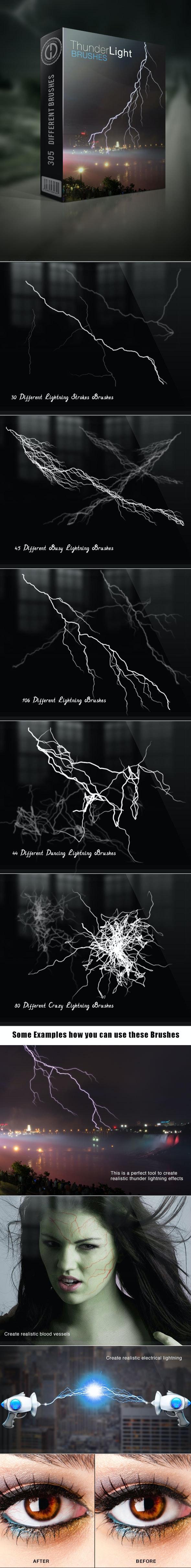 Thunder Lightning Brushes - Brushes Photoshop