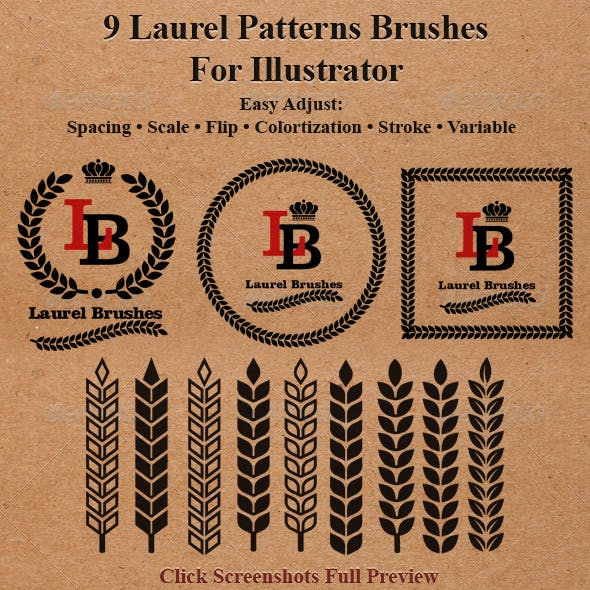 9 Laurel Patterns Brushes for Illustrator