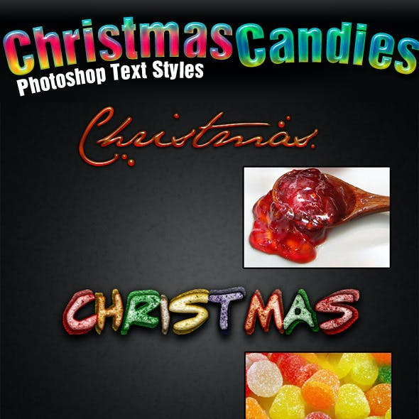 6 Christmas Candy Photoshop Text Styles