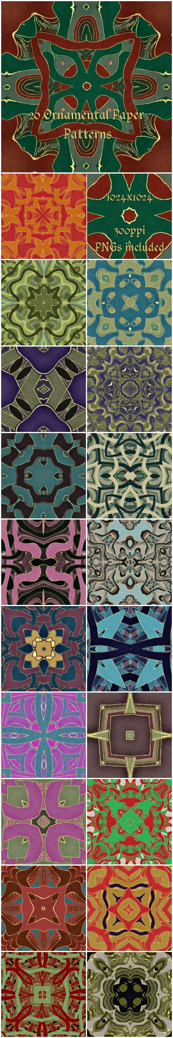 20 Ornamental Paper Patterns - Artistic Textures / Fills / Patterns