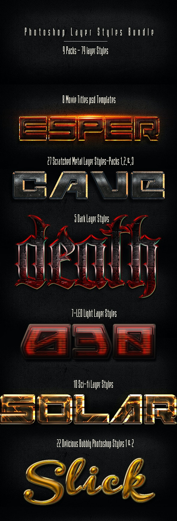 Photoshop Layer Styles BUNDLE - Text Effects Styles