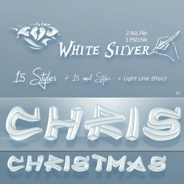 15 White Silver Text Styles for Photoshop (Christm