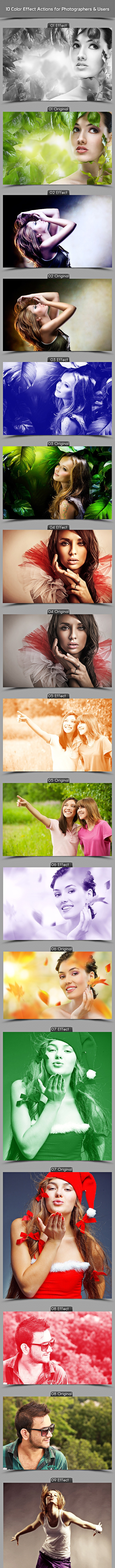 10 Color Effect Actions For Photographers & Users - Actions Photoshop