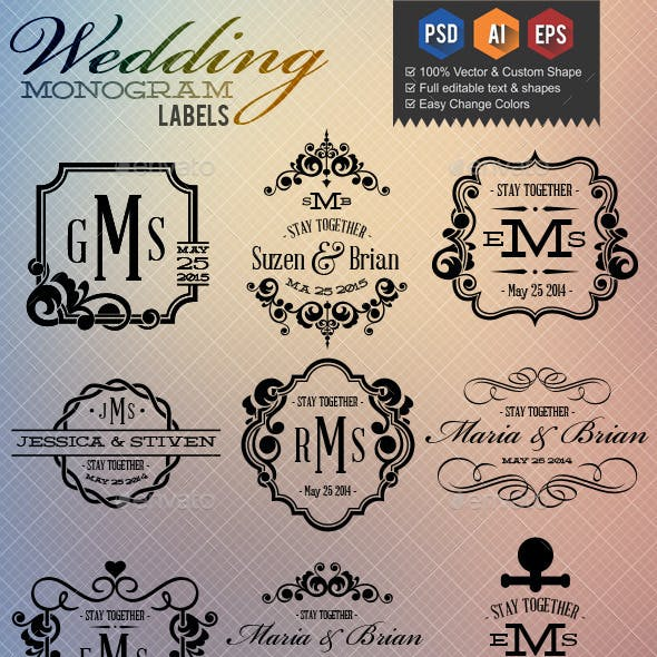 Wedding Monogram Labels