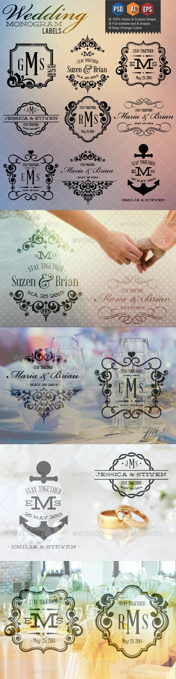 Wedding Monogram Labels - Badges & Stickers Web Elements