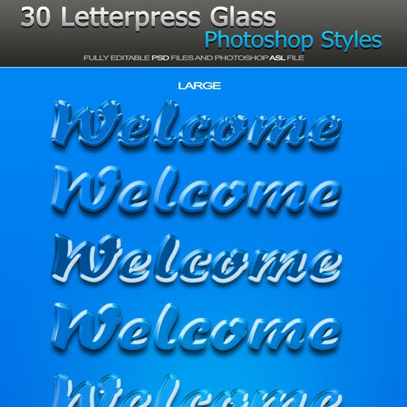 Welcome - Letterpress Glass Photoshop Styles