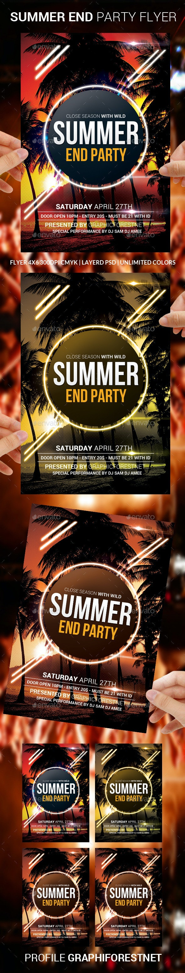 Summer End Party Flyer Template - Clubs & Parties Events