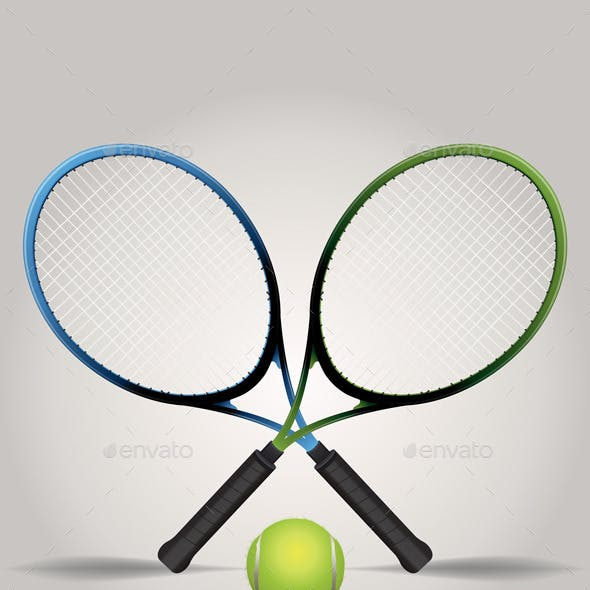 Vector Tennis Racquets and Ball Illustration