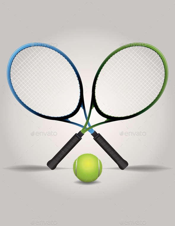 Vector Tennis Racquets and Ball Illustration - Sports/Activity Conceptual