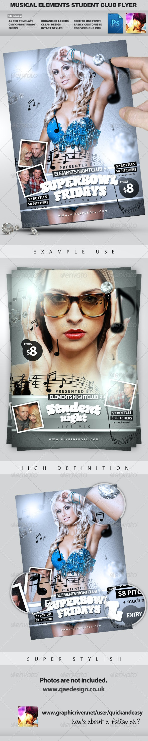 Student Club Night PSD Party Flyer Template - Clubs & Parties Events