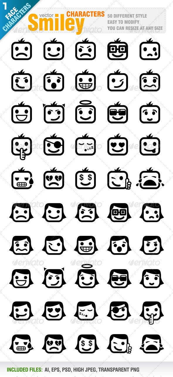 50 Different Smiley - Characters Vectors