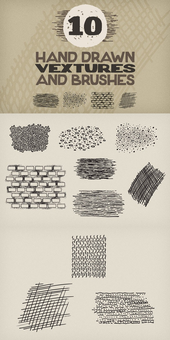 Hand Drawn Vextures and Brushes Pack 1 - Add-ons