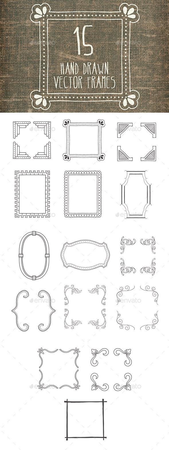 Hand Drawn Vector Frames Pack 1 - Decorative Vectors