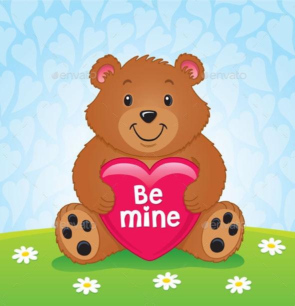 Valentines Day Bear Holding Heart - Valentines Seasons/Holidays