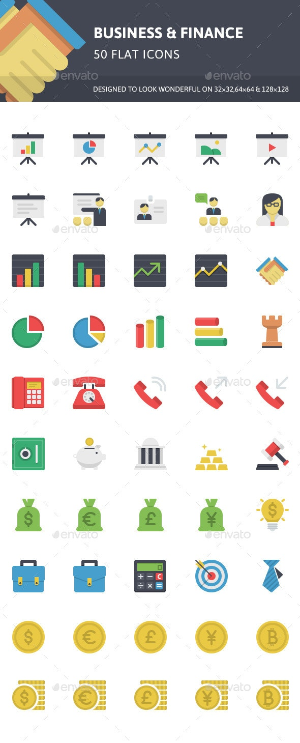 Business & Finance Flat Icons - Business Icons