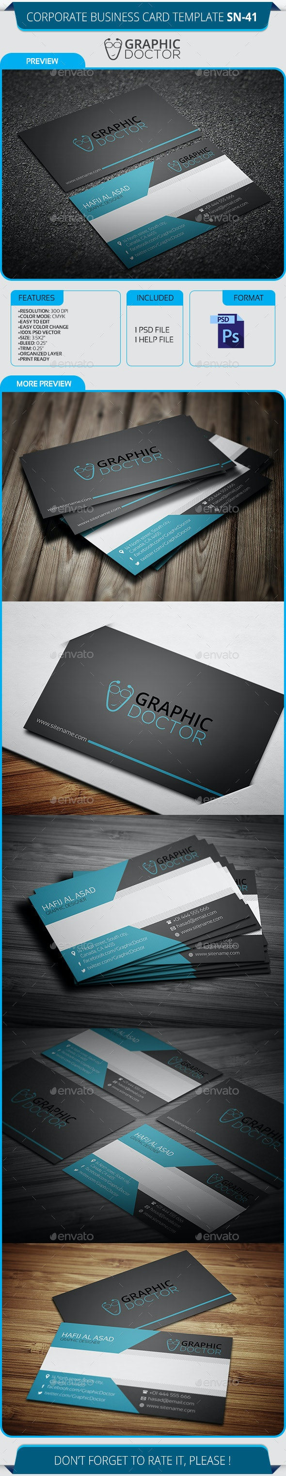 Corporate Business Card Template SN-41 - Corporate Business Cards