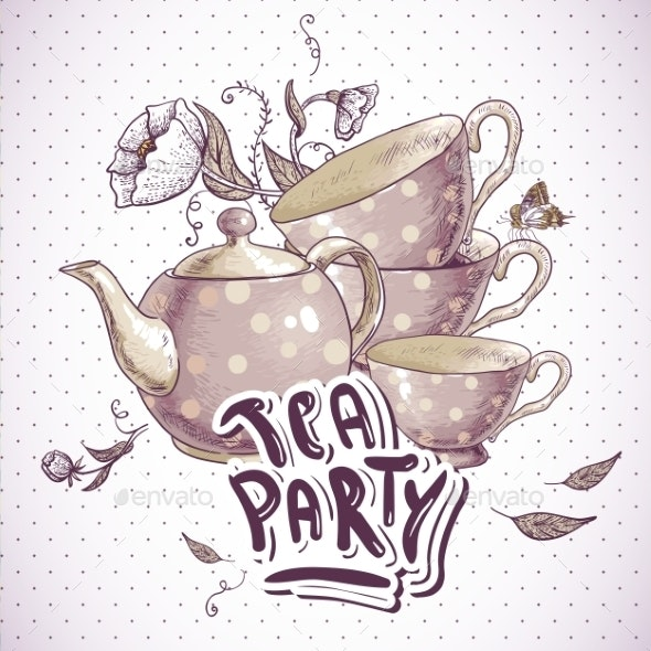 Tea Party Invitation Card with Tea Cups and Pot - Man-made Objects Objects