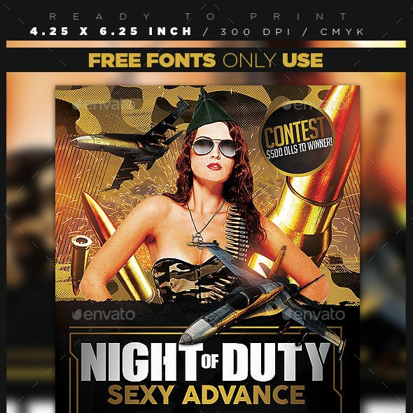 Military / Camo Party Flyer Template