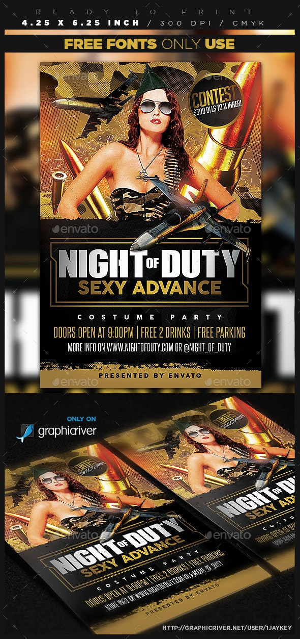 Military / Camo Party Flyer Template - Clubs & Parties Events