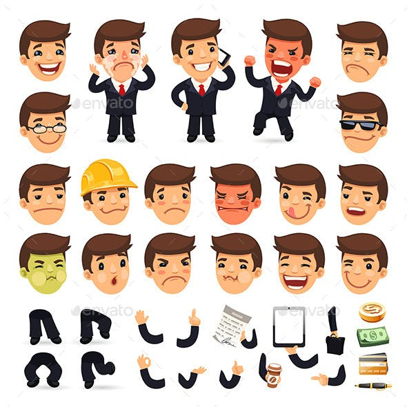 Set of Cartoon Businessman Characters