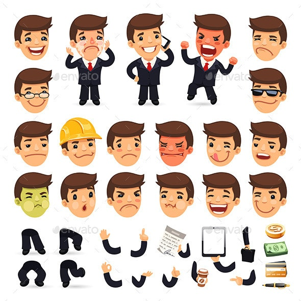 Set of Cartoon Businessman Characters - People Characters