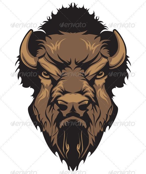 Buffalo Bison Mascot Head Graphic - Animals Characters