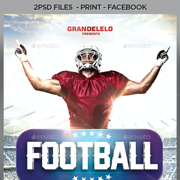 Football Flyer Template with Facebook and Instagram Cover