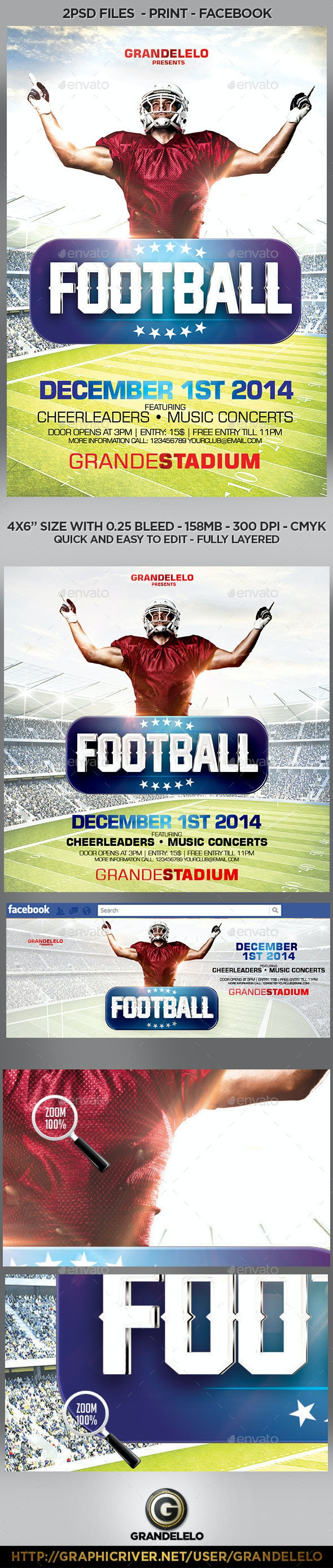 Football Flyer Template with Facebook and Instagram Cover - Sports Events