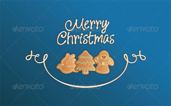 Merry Christmas Cookies Card Blue - Christmas Seasons/Holidays
