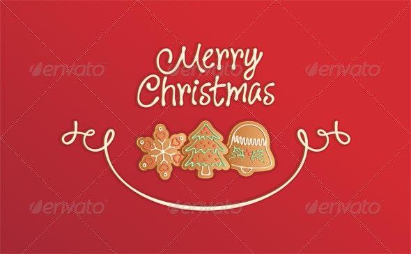 Merry Christmas Cookies Card Red - Christmas Seasons/Holidays