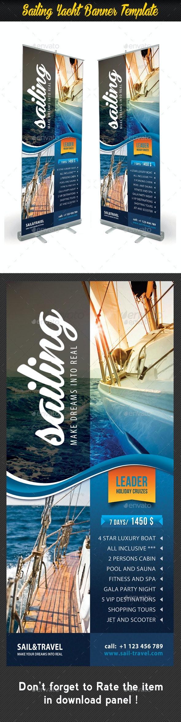 Sailing Yacht Banner Template 01 - Signage Print Templates