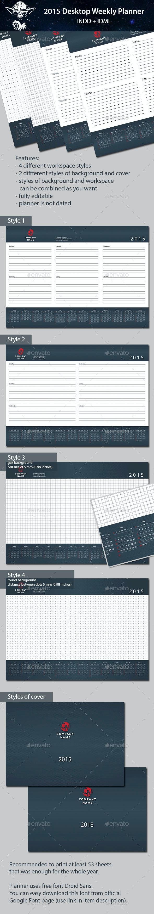2015 Desktop Weekly Planner  - Calendars Stationery