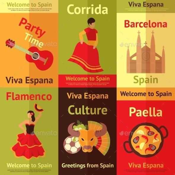 Spain Retro Posters Set - Travel Conceptual